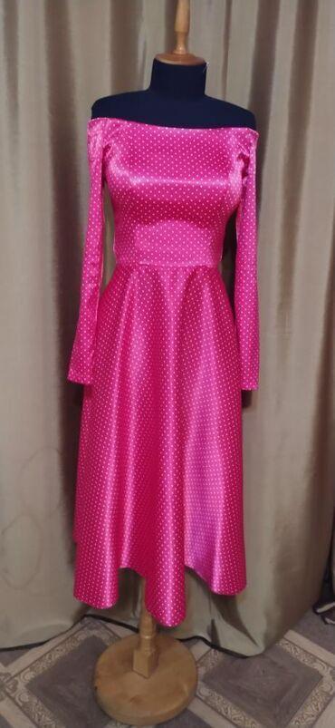 вечернее платье из франции в Кыргызстан: Цвет фуксия, карсетное платье французской длины, размер S/M