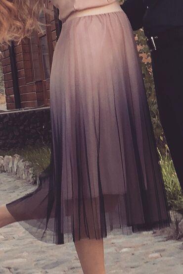 Очень классная юбка амбре, интересный цвет перехода бежерозовый в сини