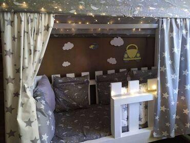 Детская мебель - Цвет: Белый - Бишкек: Цена окончательная Детская кроватка домик  Не разбирается  Размер: 16