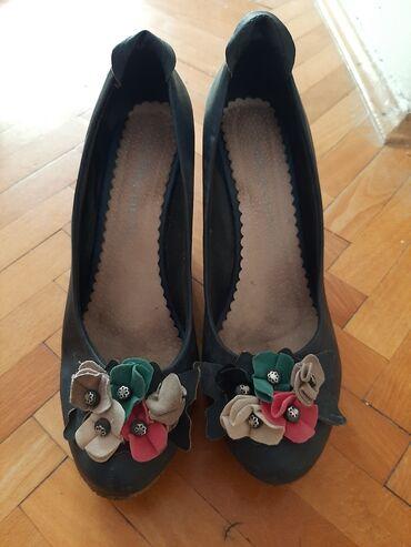 Cipele na platformu - Srbija: Zenske cipele na platformu,teget boje dobro ocuvane