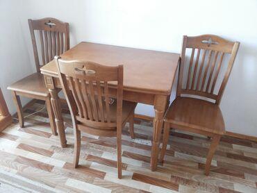 Комплекты столов и стульев в Кыргызстан: Раскладывающийся стол и 4 стула из дерева. 1 стул немного подремонтир