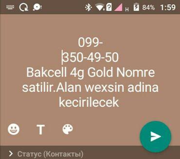 Elanda wekildeki Bakcell nomre olan 4g Gold klass Nomre satilir.Alan