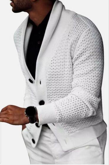 Мужская одежда - Кыргызстан: Мужской кардиган(новый), белого цвета, размер - L