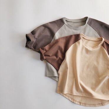 2021 весна детские футболочки с рукавами  унисекс размеры 3-8лет 90-14