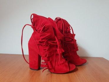 Carape sa prstima - Srbija: Crvene cipele sa otvorenim prstima,br.37,jednom obuvene!