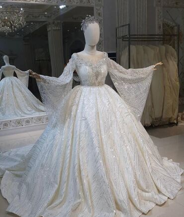 свадебные платья хиджаб в Кыргызстан: Сдаю на прокат шикарное королевское свадебное платье 2021 апрель;сшита