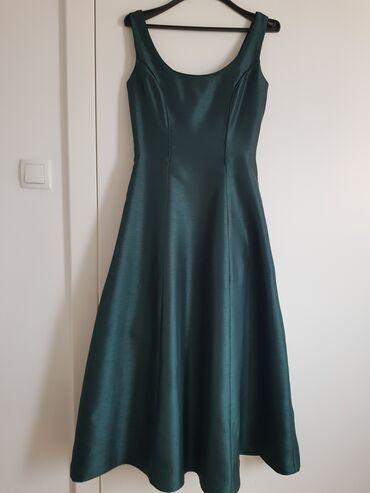 Zelena dugacka haljina od svile vel.s. Nosena jednom, kao nova