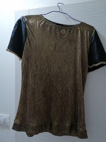 Kozne rukavice - Srbija: Zenska majica, sa koznim rukavima,velicina 38,nije nosena