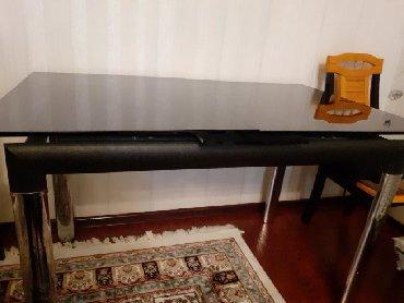 стеклянный стол офисный в Азербайджан: Стол стеклянный на 8 мест новый.открывается механически.600 азн