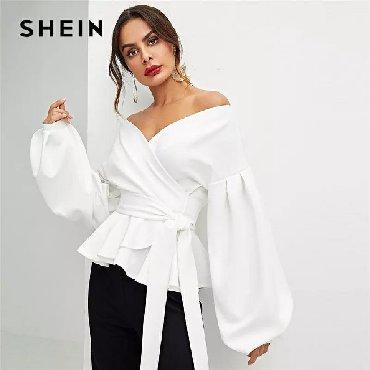 блузки с коротким рукавом в Кыргызстан: SHEIN белая офисная женская элегантная блузка с рукавом-фонариком и