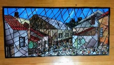 Ikone - Beograd: Prodajem sliku Skadarlije, vitraž u papiru, 70*35cm. Slika nije