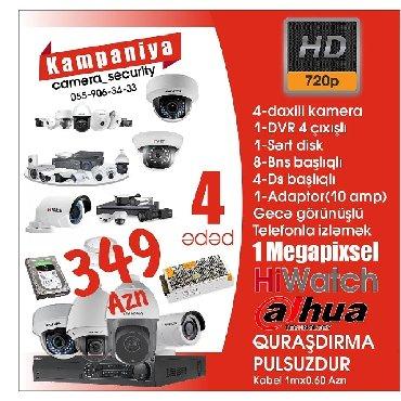 48 elan: Hiwatch firmasi 295 Dahua firmasi 349 camera security ✔1 DVR 4 cixisli