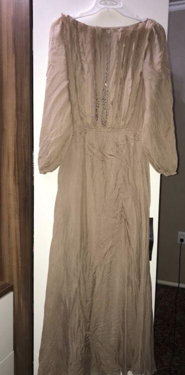 бежевое платье в пол в Кыргызстан: Платье в отличном состоянии. Перед отделан стеклярусами, подклад в