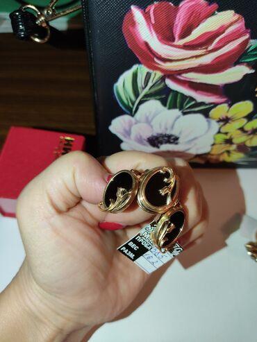 """Золотой набор """"тюльпан"""" с натуральным камнем черный агат 585 проба"""