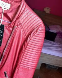 Jakna kozna crvena - Srbija: Bordo jakna NOVA od eko koze XL (odgovara i L velicini)Nova, sa