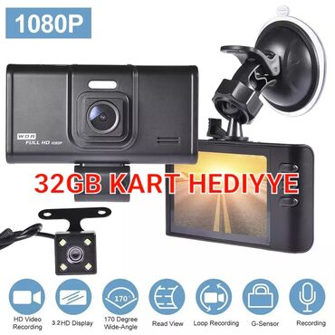 Videoqeydiyyatci avto kamera videoreqistrator▶️ 3 kamera