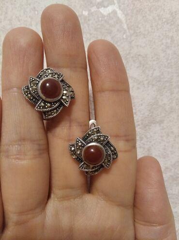 sl 925 кольцо в Кыргызстан: ТУРЕЦКИЙ СЕРЕБРЯНЫЙ набор(сережки,кулон и кольцо)-МАРКАЗИТЕсли будете