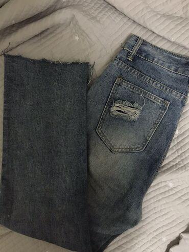 Супер необычные джинсы кюлоты,на высокой посадке с необычными краями,в