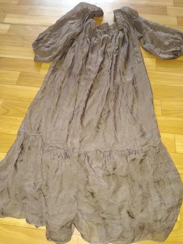 шуба до колени в Кыргызстан: Шёлковое платье king kong. Длина до колен