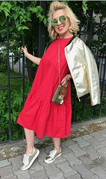 Teze don, elbise M ve L razmerler Gırmızı rəng  Başka rənglər də var