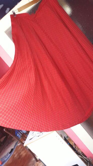 Dugacka suknja Crvena raskosna pun krugBela sa srebrnim