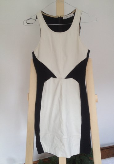 Zara kratka haljina, kombinacija eko koze i platna, crno bela, - Belgrade