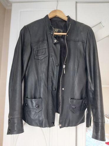 Кожаная куртка, размер 46/48, чёрный, Турция