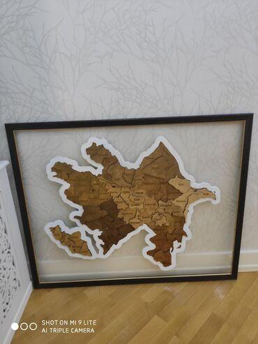 Ev üçün dekor Azərbaycanda: Azərbaycan Respublikasının siyasi xəritəsi - Maqnit Puzzle Taxta . Ə