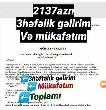 heftelik isler - Azərbaycan: 3 heftelik gelir +1000$ mukafat