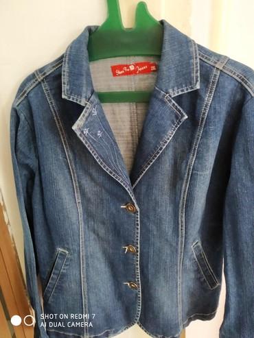 синий пиджак женский в Кыргызстан: Пиджак джинсовый почти новый размер 48-50