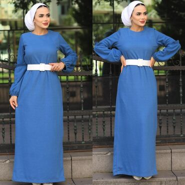 Платье Турецкое, кашемир, размер 44, синего цвета, последняя осталось