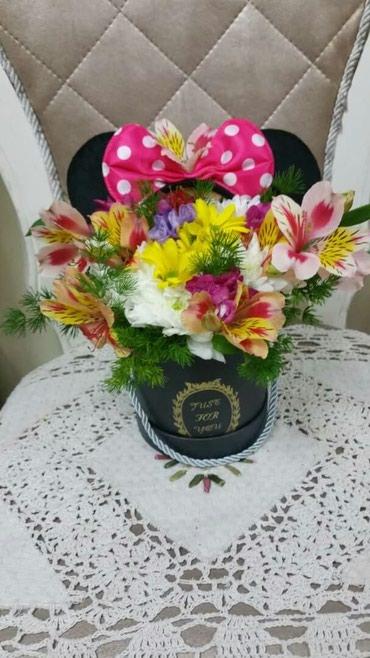 Коробки мини маус - с живыми цветами в Бишкек