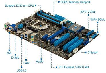 Материнские платы - Б/у - Бишкек: ATX Asus P8B75-V LGA1155 Intel I5 2500 3,7МГц Sandy bridge Crucial 213