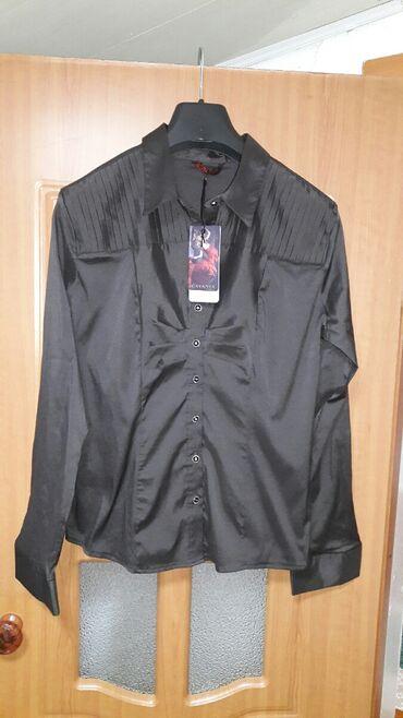 Рубашка новая шоколадного цвета, Турция, m-l 46-48 с ремешком на