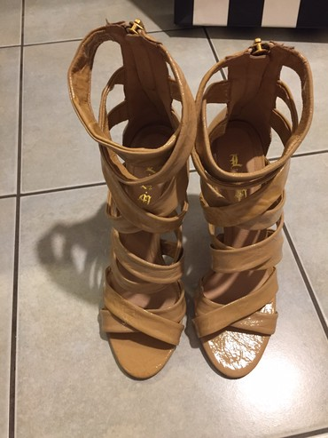 L.A.M.B. Nude beige leather high stylish sandals with zipper on the σε Agriníou