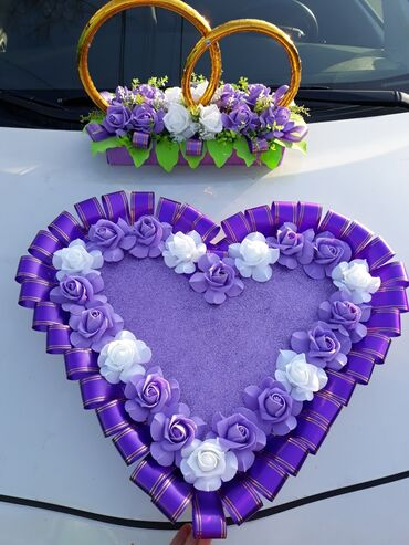 цветы для украшения в Кыргызстан: Украшение для свадебной машины. Комплект кольца и сердце из цветов