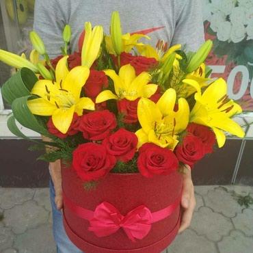 Композиция из лилии и роз в Бишкек