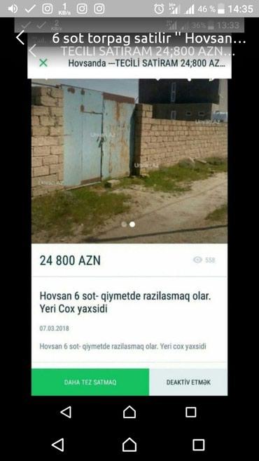 Bakı şəhərində Satilir tecili, Hovsanda 6 sot torpag satilir
