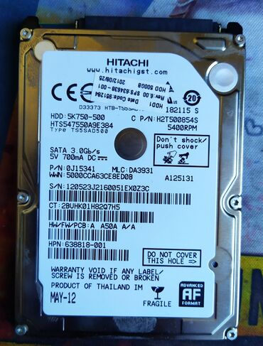 Продаю жесткий диск для ноутбука Hitachi 500gb Samsung 500gbполностью