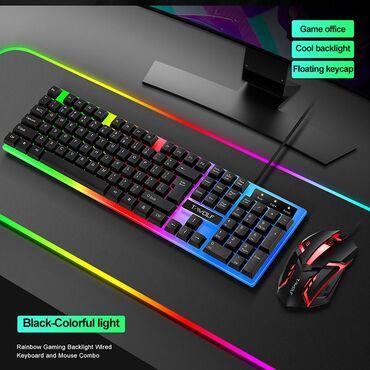 Клавиатура с мышкой tf230  радужная подсветка  эргономичная игровая кл