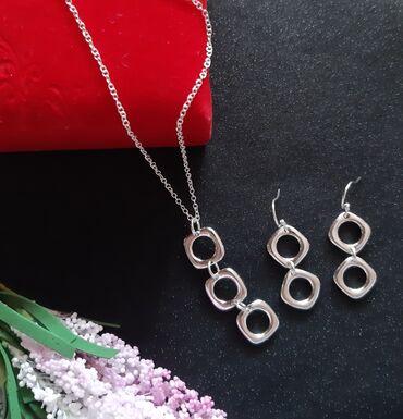 Босоножки серебро - Кыргызстан: Набор цепочка+кулон+серьги.Посеребрение 925