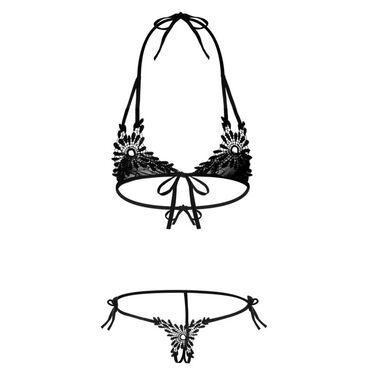 Комплект эротического нижнего белья с вышивкойРазмер: Универсальный