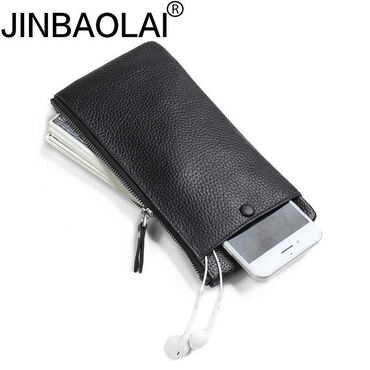 сумка-бу-кожа в Кыргызстан: Мужской кожаный кошелек с отделением для мобильного телефонаJinbaolai