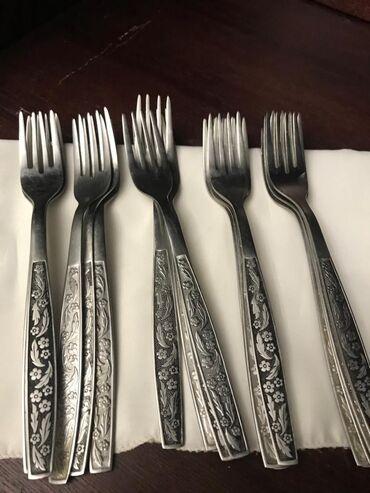Кухонные принадлежности - Бишкек: Мельхиор Вилки, ножи  вилки 19 штук  ножи нержавеющая сталь   вилки со