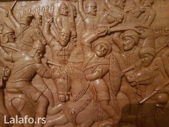 "Unikatni rucni rad, ""Kosovski boj"", dimenzije 69cm x 50cm, orahovo - Kikinda"