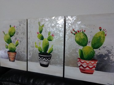 Kućni dekor - Sabac: Kaktusi.Umetnicka slika na medijapanu, slikana akrilnim bojama, na