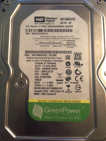 внешние жесткие диски 500 гб в Кыргызстан: Жесткий диск на 160 гб Western digital