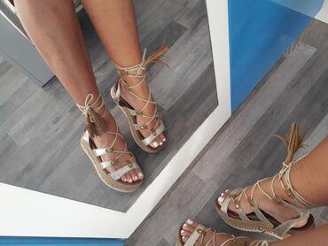 Ženska obuća | Kladovo: Sandalice na vezivanje, br. 36.  Duzina gazista 23,5cm