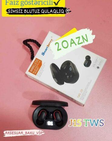 блютуз наушник в Азербайджан: Simsiz Qulaqlıqlar J15 TWS (Bluetooth nauşnik) Ağırlığı: 33.2 q (qabla