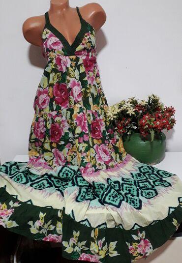 Duga letnja haljina na bretele  Vel L,sastav:pamuk,postavljena